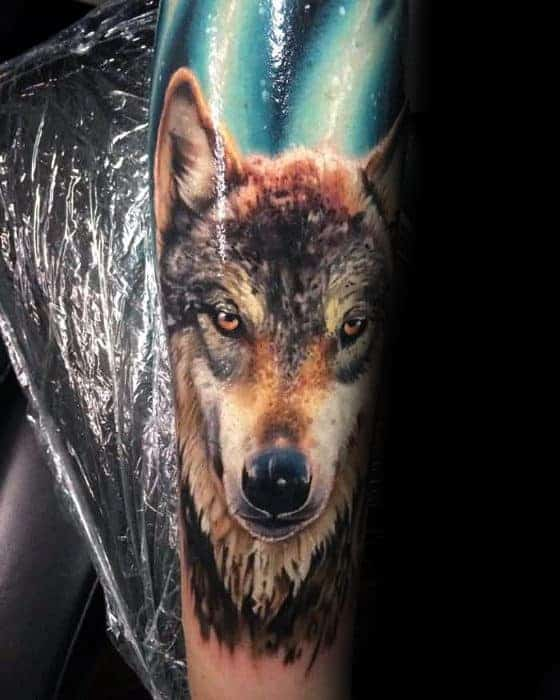 mens-forearm-sleeve-realistic-wolf-tattoo-ideas