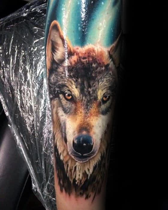 Mens Forearm Sleeve Realistic Wolf Tattoo Ideas