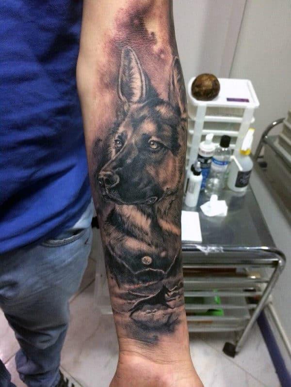 Mens Forearm Sleeve Shaded German Shepherd Memorial Tattoo Ideas