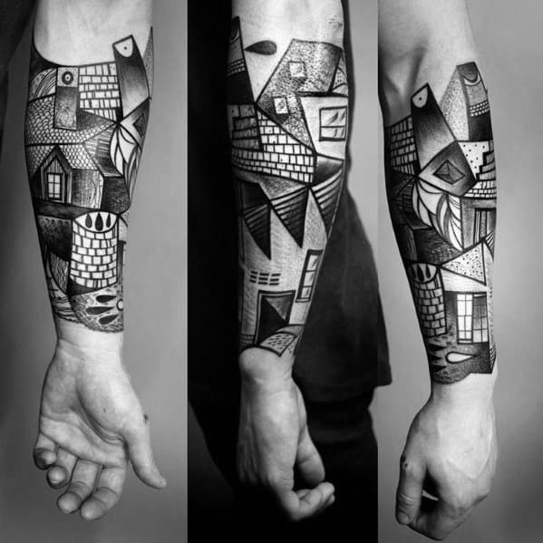 Mens Forearm Sleeve Tattoo Ideas With Cubism Design