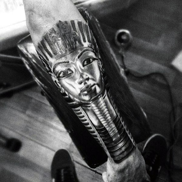 Mens Forearm Sleeve Tattoo Of King Tut