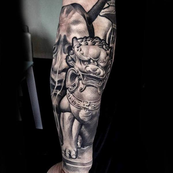 Mens Forearm Sleeve Tattoo Shaded White And Black Ink