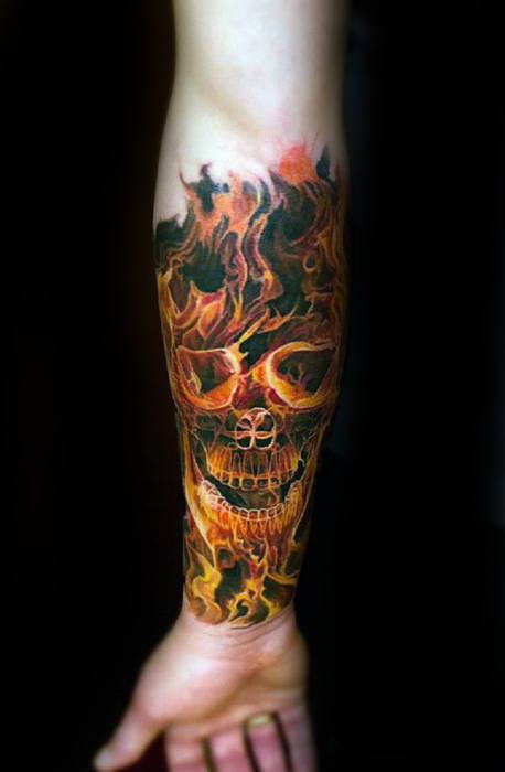 Mens Forearm Sleeve Tattoo With Flaming Skull Design