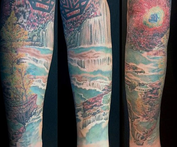 e8afd3fb6 70 Waterfall Tattoo Designs For Men - Glistening Ink Ideas