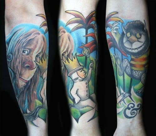 Mens Forearm Sleeve Where The Wild Things Are Themed Tattoo Design Ideas
