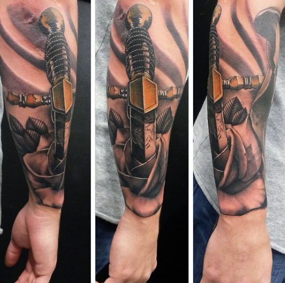 Mens Forearm Sword Tattoos