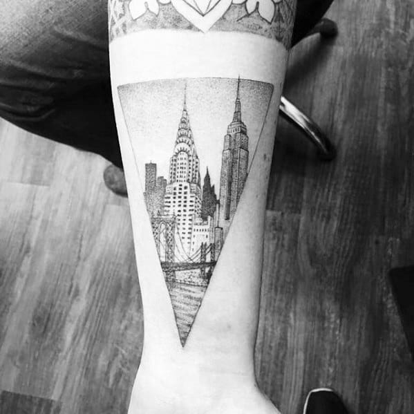Mens Forearm Tattoo New York Skyline Design