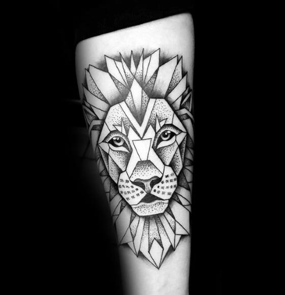 Mens Forearm Tattoo With Geometric Lion Design