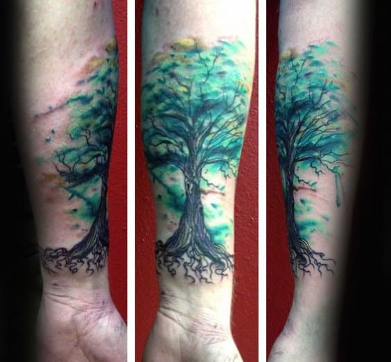Mens Forearm Thick Rooted Watercolor Tree Tattoo
