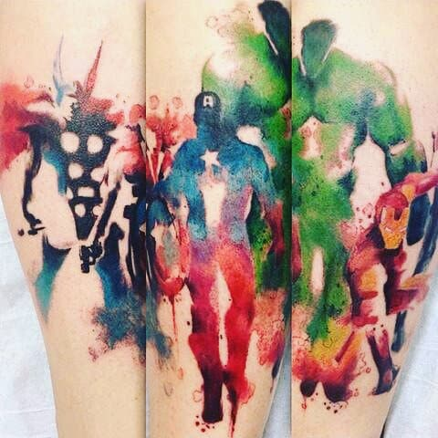 Mens Forearm Water Color Hulk Tattoo