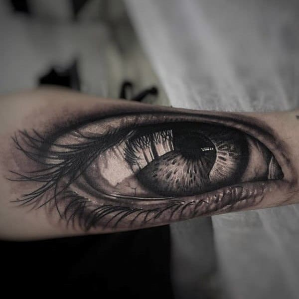 Mens Forearms 3D Black Eye With Lash Tattoo