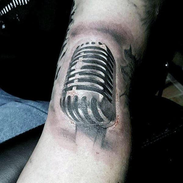Mens Forearms 3D Microphone Tattoo