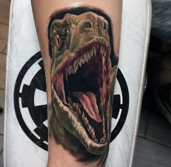 Mens Forearms 3D Open Mouthed Dinosaur Tattoo
