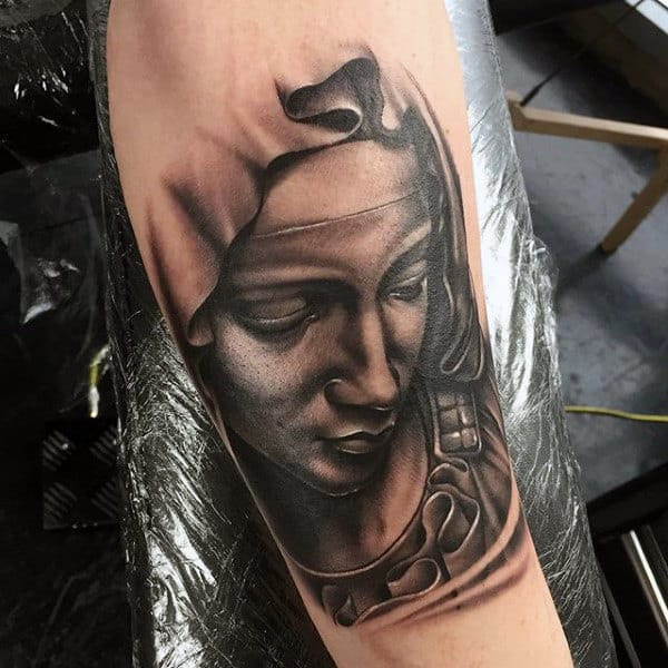 Mens Forearms Mother Religious Tattoo