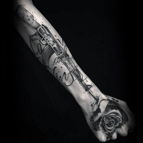 Mens Forearms Ak 47 Tattoo Design Ideas