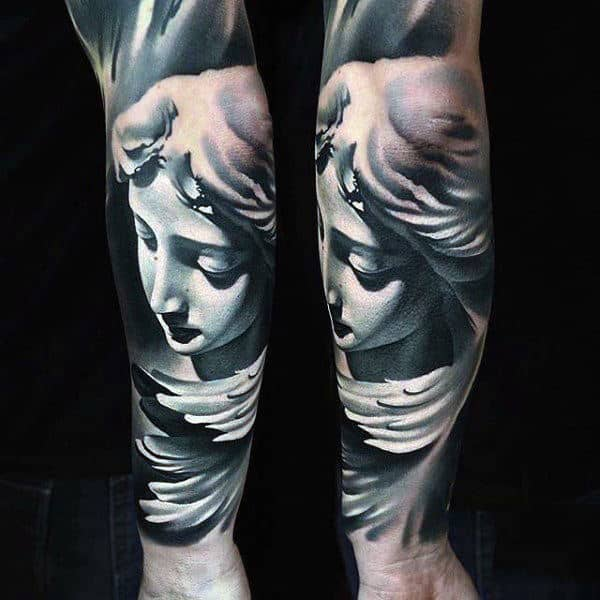 Mens Forearms Alluring Guardian Angel Tattoo