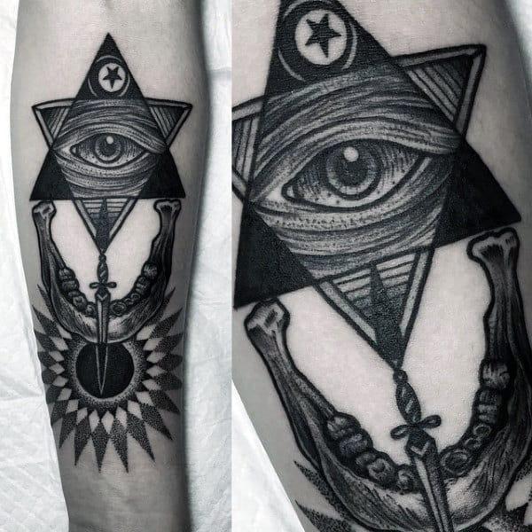 Mens Forearms Amazing Black Illuminati Tattoo