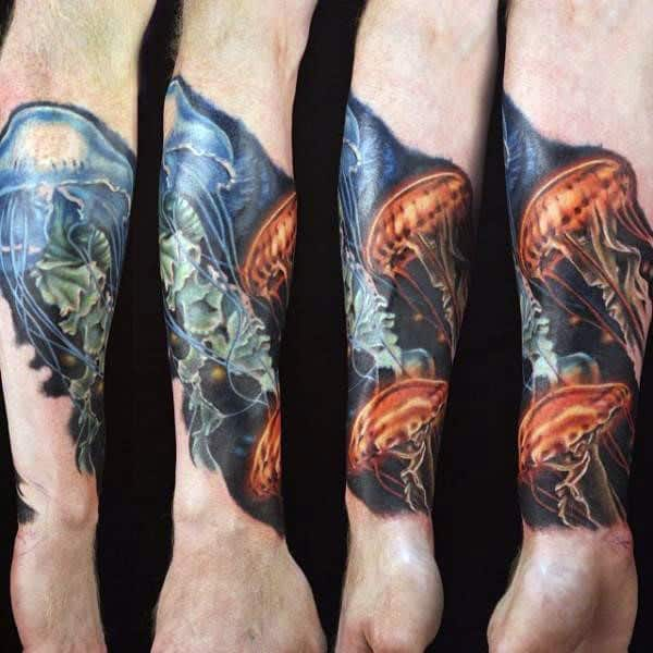 Mens Forearms Amazing Jellyfish Tattoo