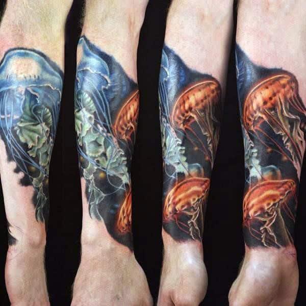Mens Forearms Amazing Jellyfish Tattoo