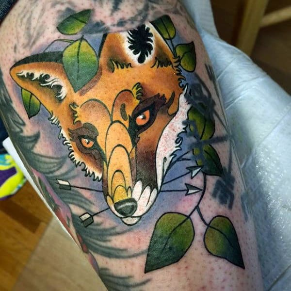 Mens Forearms Amber Colored Fox Tattoo