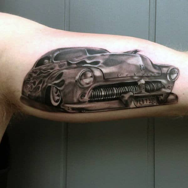 Mens Forearms Antique Hot Rod Tattoo