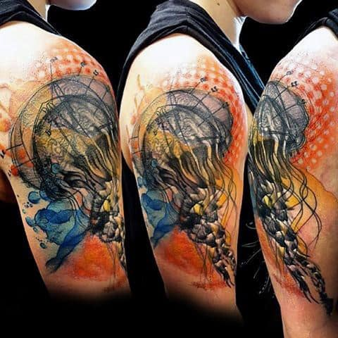 Mens Forearms Awesome Black Orange Jellyfish Tattoo
