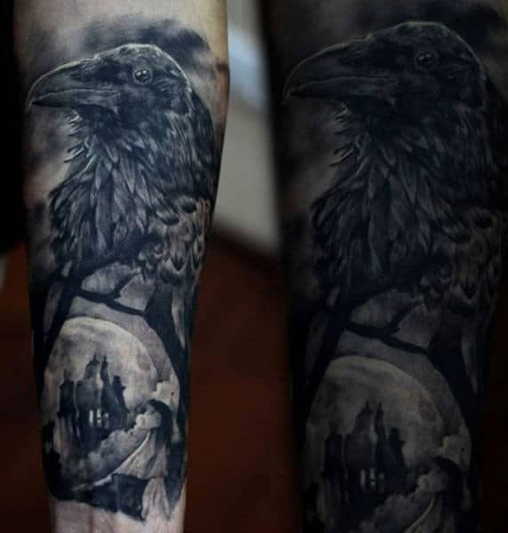 Mens Forearms Beautiful Grey Shaded Raven Tattoo