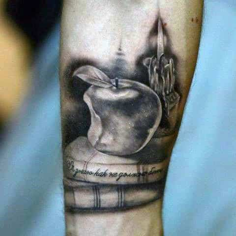 Mens Forearms Bitten Apple And Burning Candle Tattoo