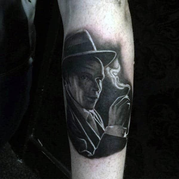 Mens Forearms Black And Grey Man Smoking Cigar Tattoo