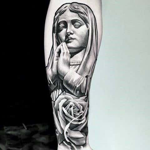 Mens Forearms Black And Grey Rose And Prayer Tattoo