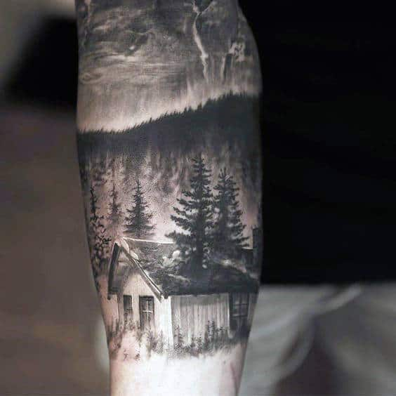 Mens Forearms Black And Grey Tattoo Of Hillside House And Pines