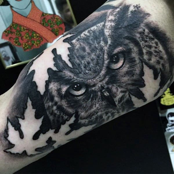 Mens Forearms Black And Grey Tattoo Owls Eye