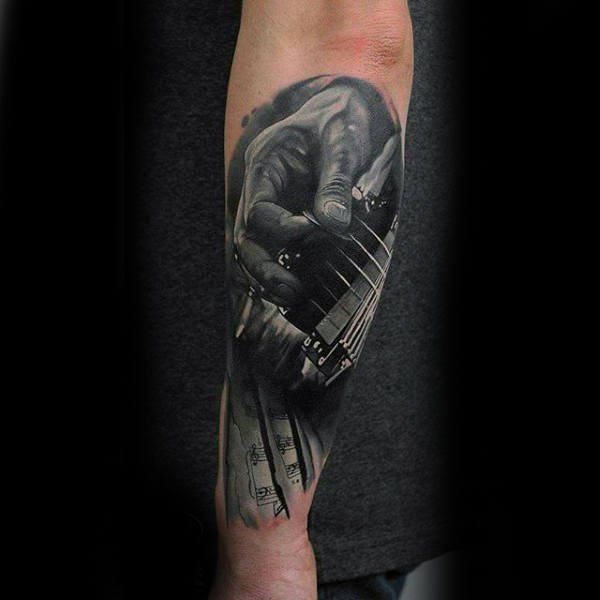 Mens Forearms Black And White Hands Playing Music Tattoo