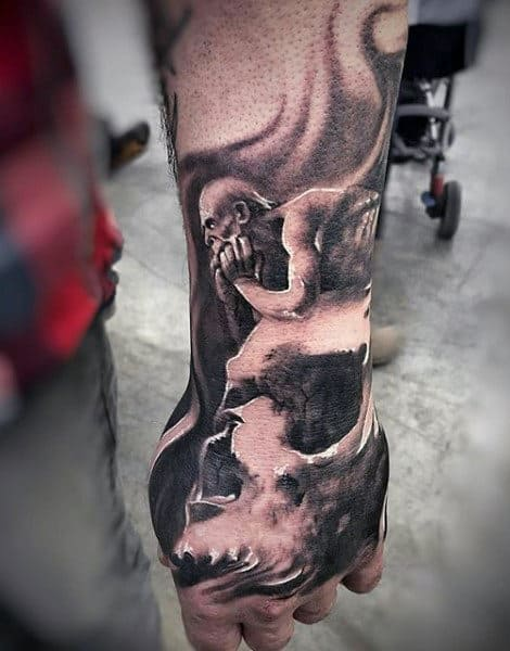 Mens Forearms Black And White Skull And Smoke Tattoo