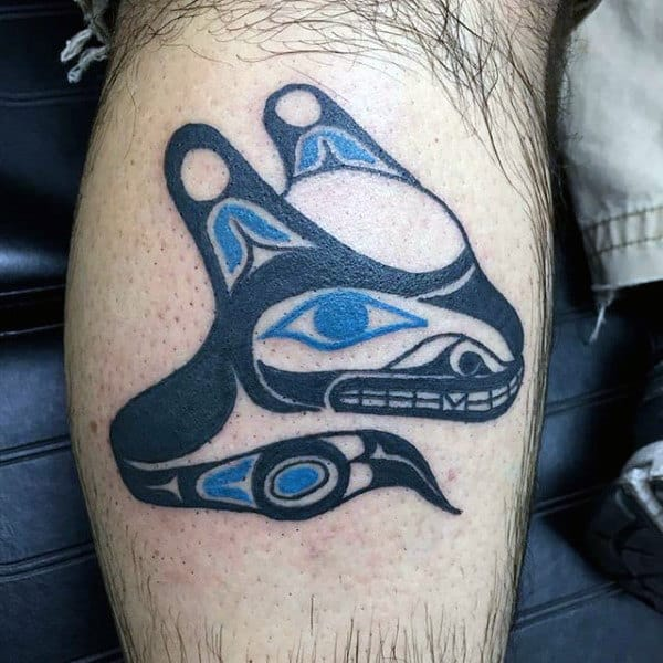 Mens Forearms Black Blue Eyed Native American Tattoo