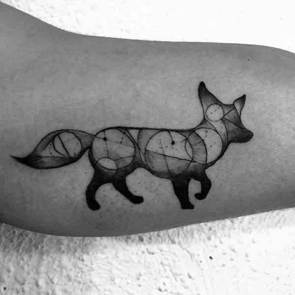 Mens Forearms Black Fox With Circles Tattoo