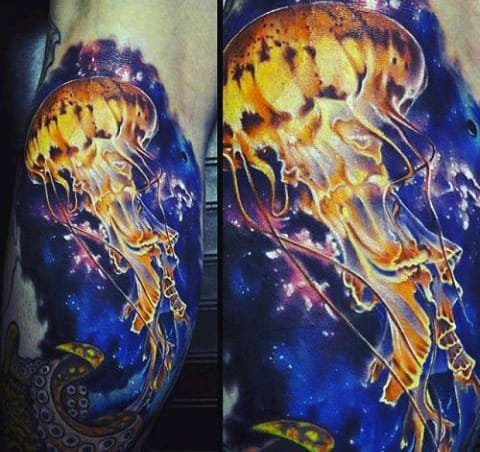Mens Forearms Blazing Yellow Jellyfish Tattoo