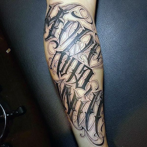 Mens Forearms Bold Black Lettering Tattoo