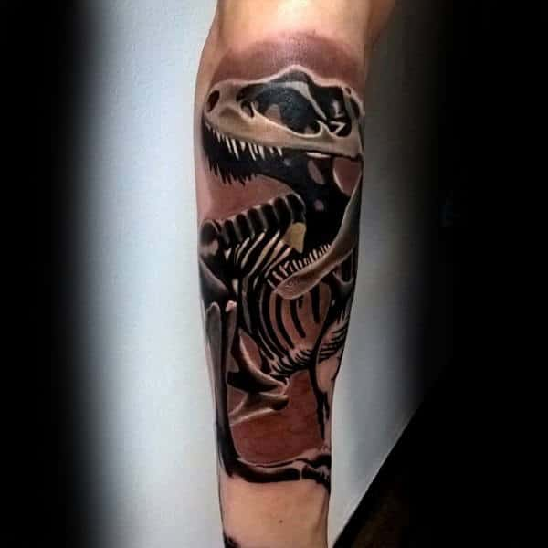 Mens Forearms Bony Dinosaur Tattoo