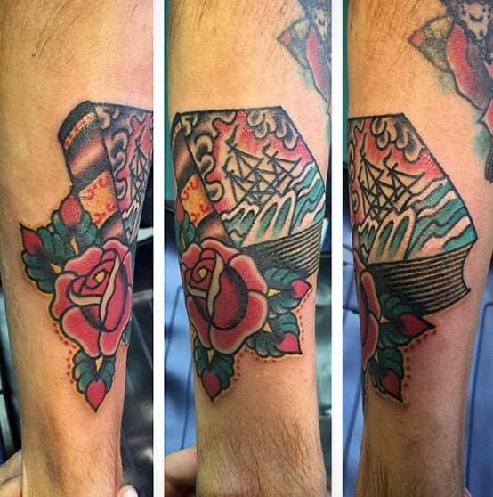 Mens Forearms Book And Rose Tattoo