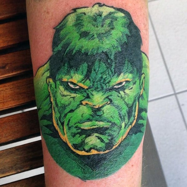 Mens Forearms Bright Green Hulk Tattoo