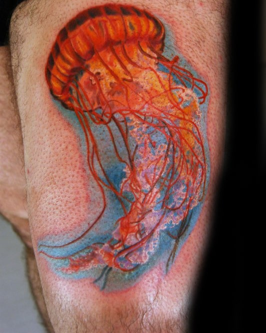 Mens Forearms Bright Orange Jellyfish Tattoo