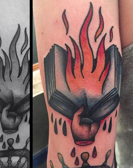 Mens Forearms Burning Book Tattoo