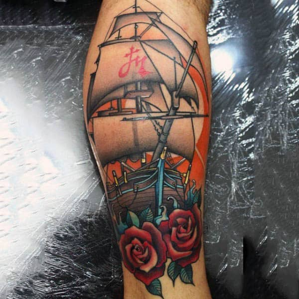 Mens Forearms Chinese Sailed Ship Roses Neo Traditional Tattoo