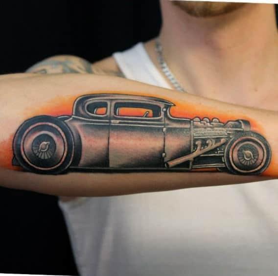 70 hot rod tattoo designs for men automobile aficionado