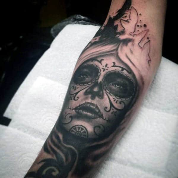 Mens Forearms Contemplating Day Of The Dead Woman Tattoo
