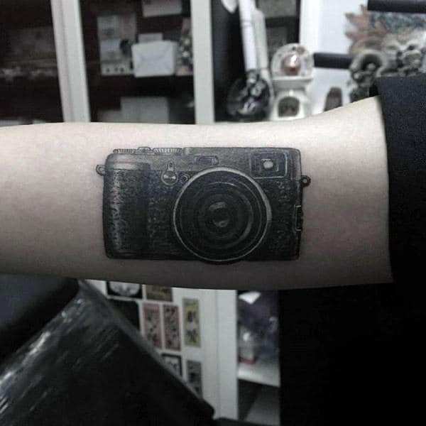 Mens Forearms Conventional Camera Tattoo