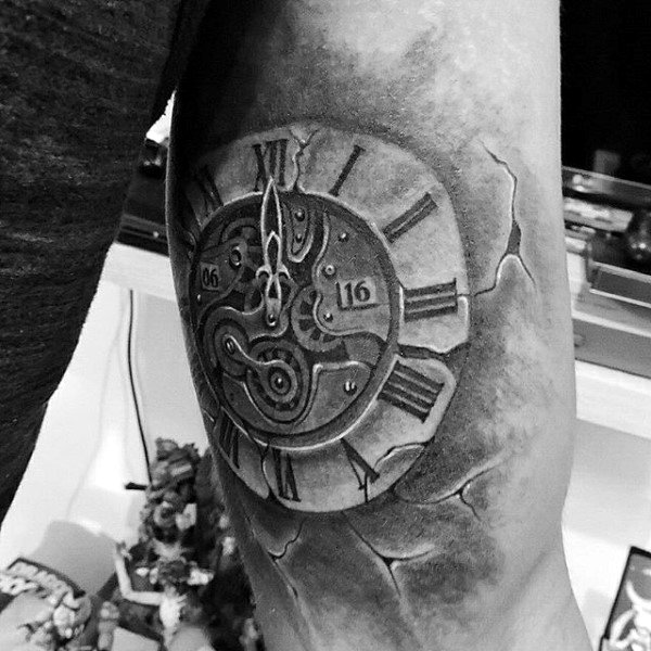 Mens Forearms Cool Cracked Ancient Timepiece Tattoo