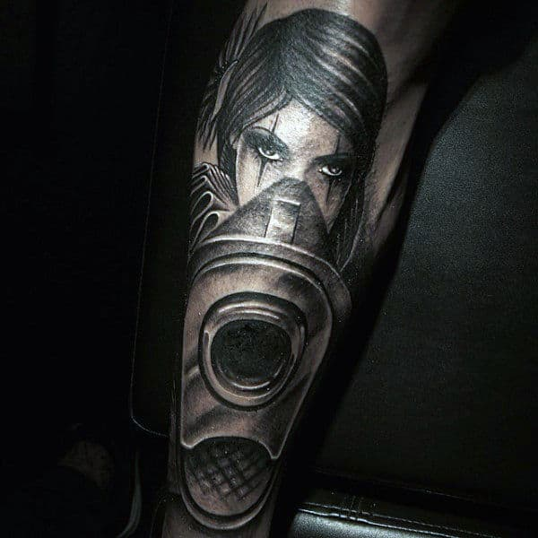 Mens Forearms Cool Hypnotic Eyed Girl Tattoo