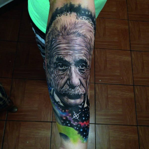 Mens Forearms Cool Tattoo Of Einstein